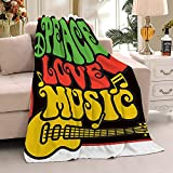 ZOE DAVISON Rasta Peace, Love, Music Flannel Blankets Used for Bed,Sofa,Couch, Lightweight ,Cozy,Warm Comfy,Fluffy,Microfiber Full Size—LARGE-80 x60 All Season