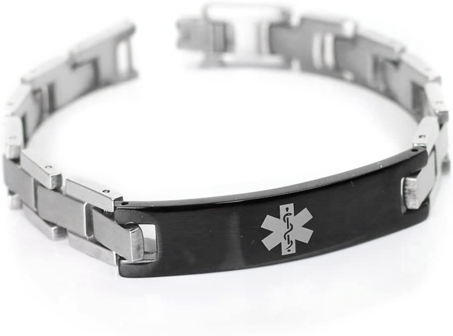 Pre-Engraved /& Customized Gastric Bypass Medical Bracelet Black Red Millefiori Glass My Identity Doctor