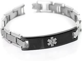 Mens Medical Alert Bracelet with Engraving, 316L Steel Link