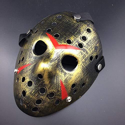 Sxgyubt Mscara de terror cosplay disfraz de Halloween mscara de mscara asesino miedo accesorios oro juego de rol divertido Halloween decoracin de fiesta