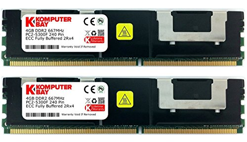 Komputerbay 8GB (2x 4GB) 240 Pin 667MHz DDR2 PC2-5300F CL5 ECC Fully Buffered modulo di memoria FB-DIMM