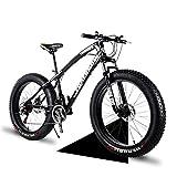 Wind Greeting 24' Bicicletas de Montaña,24 Velocidad Bikes de Nieve,Bicicleta de Montaña para Adultos Fat Tire,Marco de Acero de Alto Carbono Doble Suspensión Completa Doble Freno de Disco (Negro)