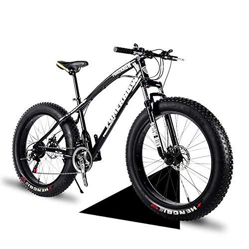 Wind Greeting 26 Zoll Mountainbike,24 Gang-Schaltung Erwachsene Fette Reifen Fahrrad,Schnee Fahrrad,Rahmen aus Kohlenstoffstahl,Vollfederung Scheibenbremsen Hardtail Bike (Schwarz)