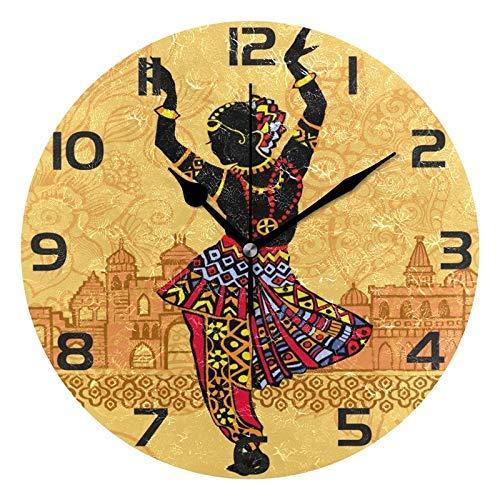 Lewiuzr Elegante Reloj de Pared Redondo de Baile Indio para Mujer, silencioso, sin tictac, hogar, Oficina, Escuela, Reloj Decorativo, Arte