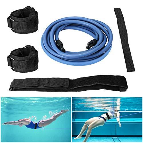 Buluri Einstellbarer Pool Schwimmgurt, 4M Schwimmtraining Bungee Seil, Schwimmtrainer Schwimmwiderstand Gürtel für Kinder & Erwachsene inkl. Aufbewahrungstasche