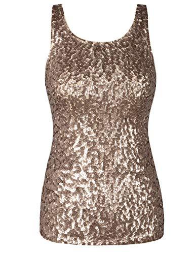 PrettyGuide Damen Shimmer Glam Pailletten verziert Sparkle Trägershirt-Weste Tops M Champagner