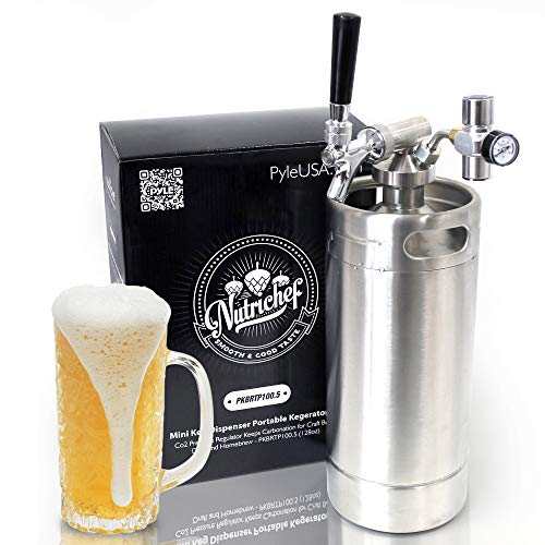 NutriChef Pressurized Growler Tap System - Stainless Steel Mini Keg Dispenser Portable Kegerator Kit - Co2 Pressure Regulator Keeps Carbonation for Craft Beer, Draft and Homebrew - PKBRTP100.5 (128oz)
