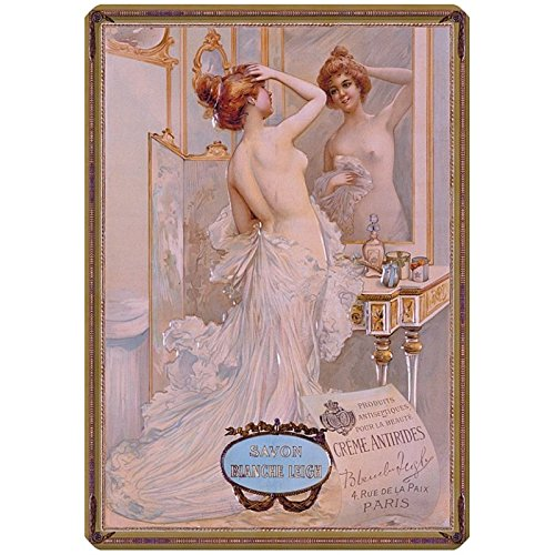 Editions Clouet 56097 - Grande Plaque métal 30x40 cm Savon Blanche Leigh - Miroir