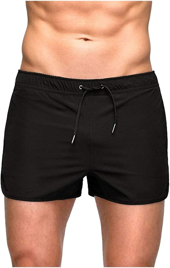 F_Gotal Men's Swim Trunks Quick Dry Pulling Rope Slim Fit Swimming Shorts Beach Swimwear Bathing Suits