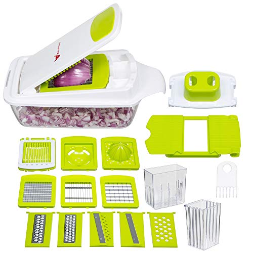Bullstrong 8541980020 Onion Salad Kitchen Tools And Gadgets-Vegetable Chopper Dicer Slicer Cutter, 11.3 x 6.7 x 5.7 in, White Green