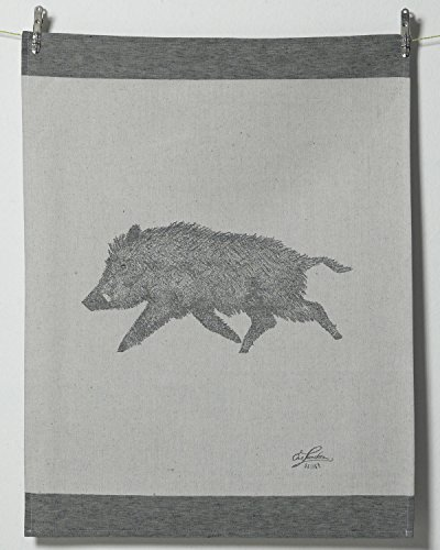 Schlitzer Leinen Geschirrtuch Wildschwein - Gr. 55 x 75 cm, Fb. Rot