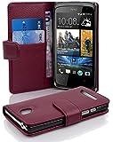 Cadorabo - Book Style Hülle für HTC Desire 500 - Hülle Cover Schutzhülle Etui Tasche mit Kartenfach in BORDEAUX-LILA