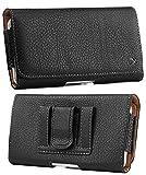 Black Leather Pouch Phone Case [with Belt Loops and Fixed Clip] for Alcatel Go Flip V, Smartflip, Myflip, QuickFlip, Cingular Flip 2, Jitterbug, Orbic Journey V, eTalk, Link, Schok Flip Phone