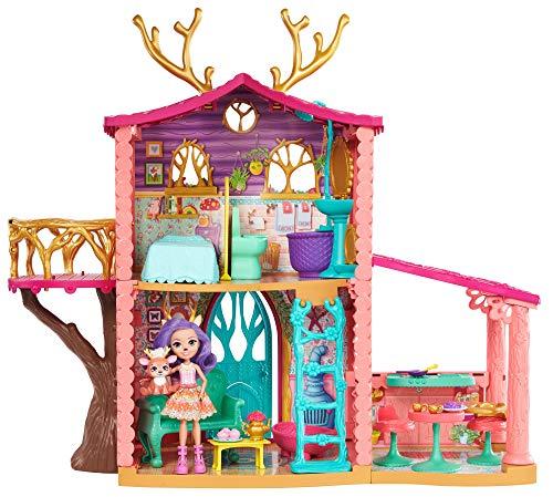 Representa todo tipo de historias encantadoras en el bosque con los Enchantimals, la muñeca Danessa Deer y su mejor amigo el ciervo Sprint en su dulce hogar, una Supercasa del bosque para dos El conjunto de juego de Enchantimals viene con la muñeca d...