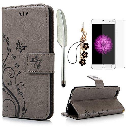 iPhone 6 / 6S Hülle (4,7 Zoll) Wallet Hülle Flip Hülle YOKIRIN Schmetterling Blumen Muster Schutzhülle PU Leder Brieftasche Ledertasche im Bookstyle für iPhone 6 6S Tasche Grau