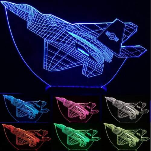 Ybzx Cool Toy 3D Aircraft Warplane Model Creative Night Light Touch Plane Lámpara de Escritorio Lámpara de ilusión LED Lámpara de cabecera Envío Gratuito