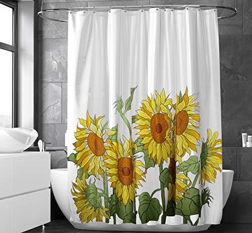"Bartafi Sunflower Shower Curtain for Bathroom   12 Metallic Hooks Included   Colorful Yellow Cute Flowers Print Design Curtains   Fabric Sunflower Bathroom Decor   100% Polyester   71"" x 71"""