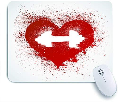 Marutuki Gaming Mouse Pad Rutschfeste Gummibasis,Fitness, Red Heart Icon mit Flecken Spritzer und Hantel Grunge Artistic Love Design,für Computer Laptop Office Desk,240 x 200mm