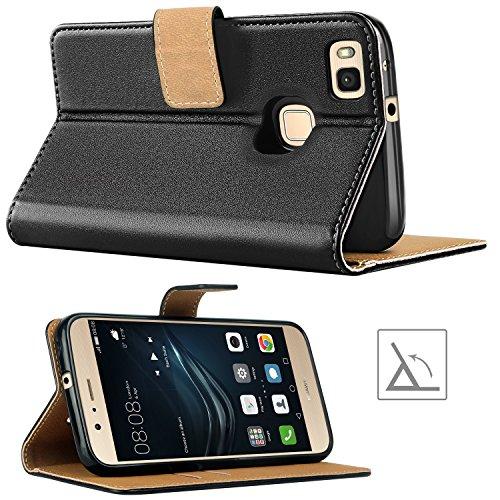 HOOMIL Handyhülle für Huawei P9 Lite Hülle, Premium PU Leder Flip Schutzhülle für Huawei P9 Lite Tasche, Schwarz - 4