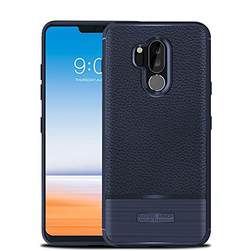 Cruzerlite Funda LG G7, Funda LG G7 ThinQ, Flexible Slim Case with Leather Texture Grip and Shock Absorption for LG G7/ LG G7 ThinQ (Blue)