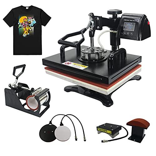 RoyalPress 5 in 1 Heat Press 12' x 15' Color LED 360-degree Rotation Professional Sublimation Heat Transfer Multifunction Combo Heat Press Machine Hat/Mug/Plate/Cap/T-Shirt Black (12'x15' 5 in 1)