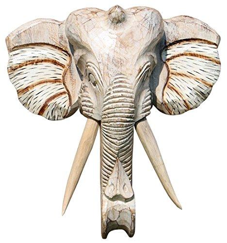 Schöne 40 cm Wand Maske Elefant Holz Bali Maske48.40hell