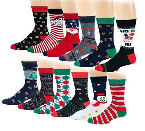 12 Pairs / 6 Pairs Colorful Fashion Design Dress socks 10-13 (12 Pairs Christmas)