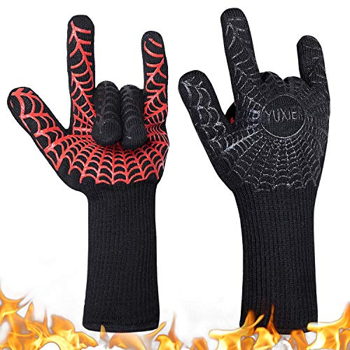 YUXIER Oven Gloves, Hot BBQ Grill Gloves,1472°F Oven Mitts for...