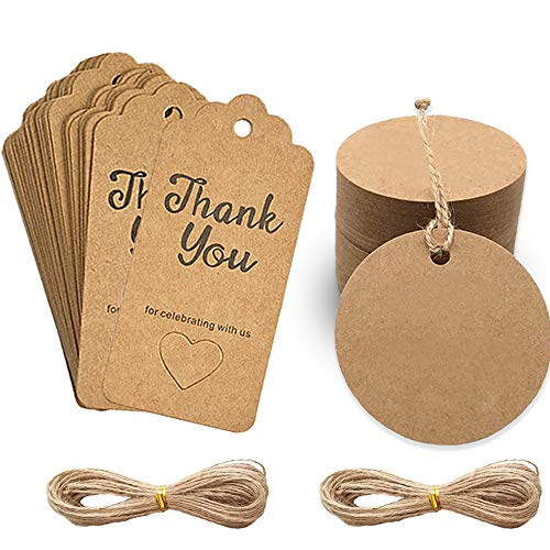 """IHUIXINHE 200 Pezzi Tag Regalo Etichette, Targhette Carta Kraf Etichette Rotonde e """"Thank You for Celebrating with Us"""", Ideali per Compleanni e Matrimoni, con Spago di IutaLungo 2 Pacchi 10 Metri"""