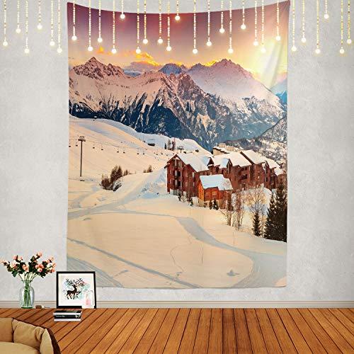 Shrahala Sunrise Tapisserie, Winter in Frankreich, Wandbehang, großer Wandteppich, psychedelische Tapisserie, Dekorationen, Schlafzimmer, Wohnzimmer, Schlafsaal (200 x 140 cm, braune Dämmerung)