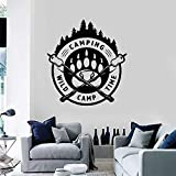 Camping Logo Wall Decal Wild Camp Time Forest Paw Print Art Mural Teen Boys Room Decor Adventure Tourist Vinyl Stickers