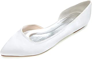 LLBubble Women Flat Pointed Toe Low Cut Wedding Shoes Satin Ballet Bridal Formal Party Dress Shoes 2046-08
