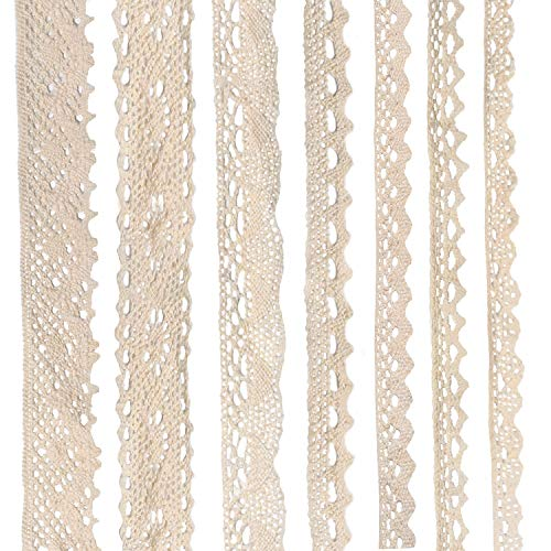 Milkary 7 Rolls Assorted Pattern Beige Cotton Fabric Lace Ribbon, Cream Lace Trim Ribbon for Floral Designing Sewing Gift Package Wrapping DIY Crafts Wedding Applique Decor (6Yards/Each)