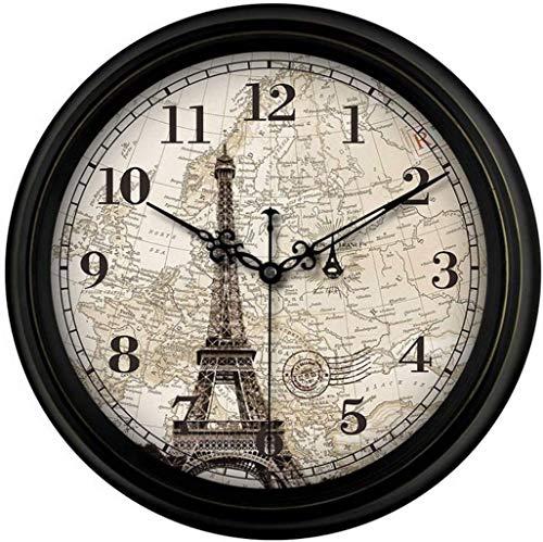 FEEE-ZC Reloj Antiguo Retro Vintage Francia Paris Sin tictac Silent Sweep Segundo Reloj de Pared de Cuarzo, 16 Pulgadas