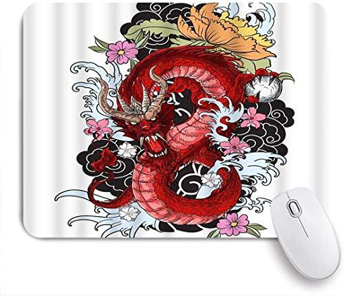 Benutzerdefiniertes Büro Mauspad,Traditionelle asiatische Tätowierung Hand gezeichnete Blumenkultur-Maskottchen des Drachen-Chinesen,Anti-slip Rubber Base Gaming Mouse Pad Mat