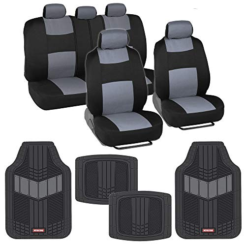 BDK Two-Tone PolyCloth Car Seat Covers w/Motor Trend Dual-Accent Heavy Duty Rubber Floor Mats - Black/Gray (OS-309-GR+MT-688-GR_am)