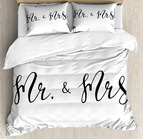 ABAKUHAUS Engagement Party Duvet Cover Set Twin Size, Simplistic Mr and Mrs Text Caligraphic Fountain Pen Writing Design, Decorative 3 Piece Bedding Set with 2 Pillow Sham, Black and White