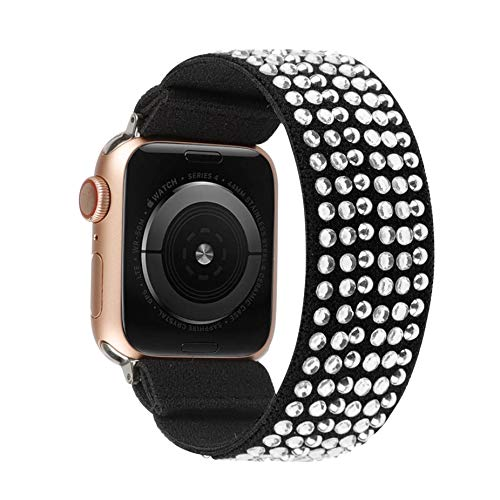 TOYOUTHS Compatible with Solo Loop Apple Watch Band Scrunchies Stretchy Elastic Band 38/40mm Rhinestone Sparkle Pattern Soft Nylon Women Replacement for iWatch Series SE/6/5/4/3/2/1