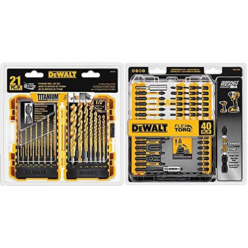 DEWALT Titanium Drill Bit Set, Pilot Point, 21-Piece (DW1361) & Screwdriver Bit Set, Impact Ready, FlexTorq, 40-Piece (DWA2T40IR),Black/Silver Impact Ready FlexTorq Screw Driving Set, 40-Piece