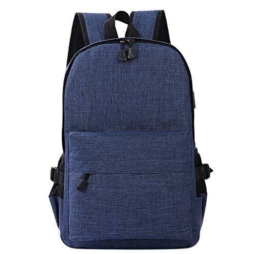 HXYLSZZC Mochila casual para hombre de negocios para ordenador portátil, mochila de viaje al aire libre con USB Primavera Verano (color azul oscuro)