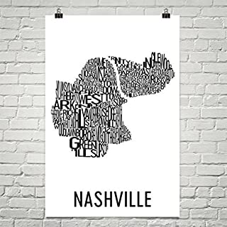 Modern Map Art Nashville Typography Neighborhood Map Art City Print, Nashville Wall Art, Nashville Art Poster, Gifts, Map of Nashville Black Poster 12