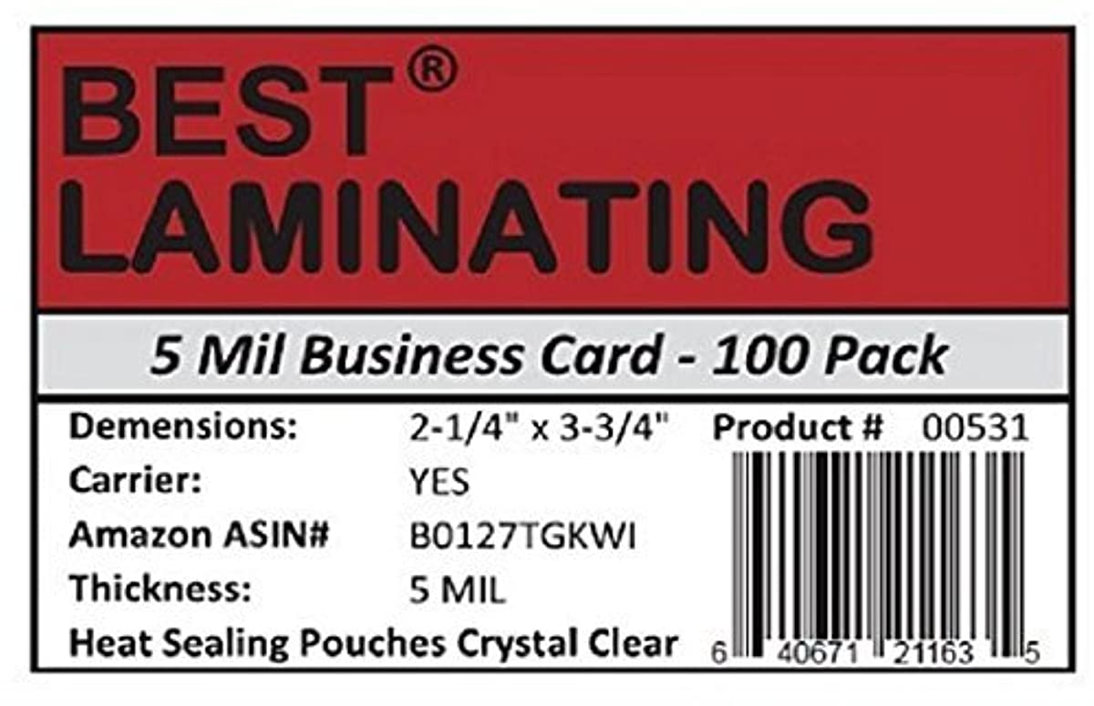 Best Laminating? - 5 Mil Business Card Therm. Laminating Pouches - 2-1/4 x 3-3/4 (100 Pouches)