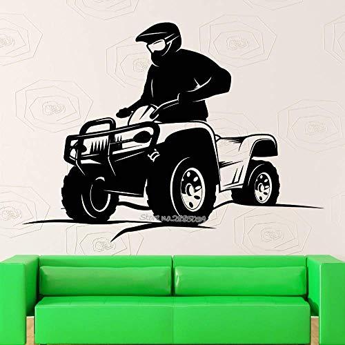 Vierrädrige Motorrad Extremsport Vinyl Aufkleber Jungenzimmer Coolste Kunst Wandhauptdekoration Kindergarten Wandaufkleber 71X56Cm