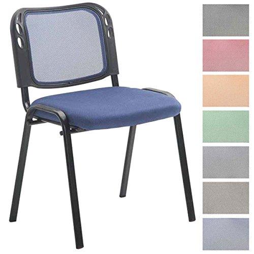 CLP Silla Confidente Michelle con tapizado de Red I Silla de Conferencia Ergonómica I Silla de Visita Apilable I Color: Azul