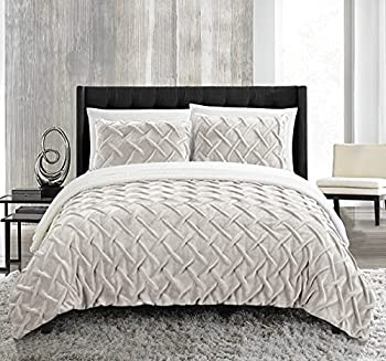 Chic Home Naama 3 Piece Comforter Set Ultra Plush Micro Mink Criss Cross Pinch Pleat Sherpa Lined Bedding – Decorative Pillow Shams Included Queen Beige