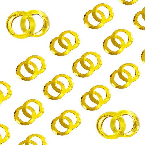 Oblique Unique® Doppel Ringe Konfetti - Gold Glänzend Streuteile Tisch Deko Streudeko Hochzeit