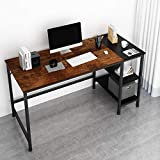 JOISCOPE Home Office Computer Desk, Study Writing Desk with Wooden Storage Shelf,2-Tier Industrial Morden Laptop Table with Splice Board,55 inches(Vintage Oak Finish)
