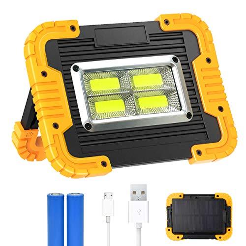 30W LED Arbeitsstrahler, T-SUN Baustrahler Akku Solar Camping Licht Arbeitsleuchte USB Wiederaufladbares tragbares Arbeitslicht mit 2*Wiederaufladbare Batterien, 3 Lichtmodi für Baustelle Garage