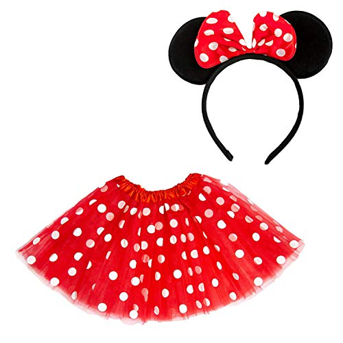 Oblique Unique® Damen Maus Mouse Kostüm Rot Weiß Schwarz mit Tutu Gepunktet + Haarreifen mit Maus Ohren und Schleife für Fasching Karneval Motto Party