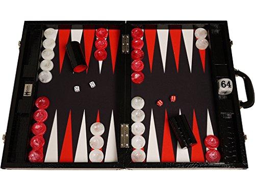 Wycliffe Brothers Tablero de Backgammon para torneos Diseño de cocodrilo en negro con...